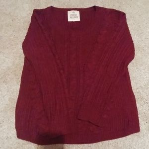 SO reddish/maroon sweater!
